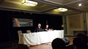 David Gaider and Jessica Merizan at the BioWare panel